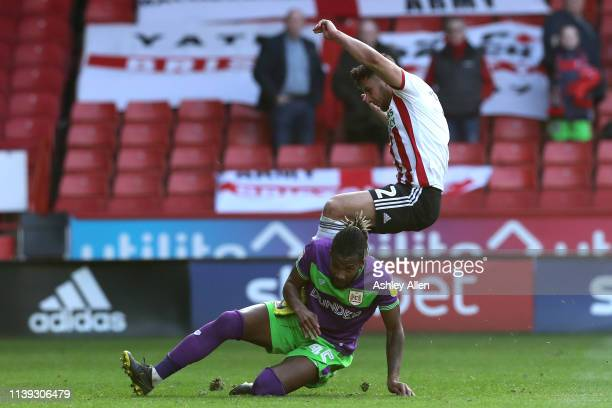 Kasey Palmer of Bristol City tackles Jack O'Connell of Sheffield United during the Sky Bet Championship match between Sheffield United and Bristol...
