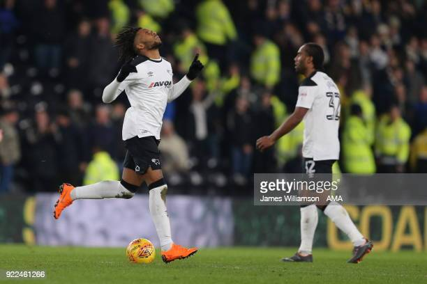 Kasey Palmer of Derby County celebrates after scoring a goal to make it 22 during the Sky Bet Championship match between Derby County and Leeds...