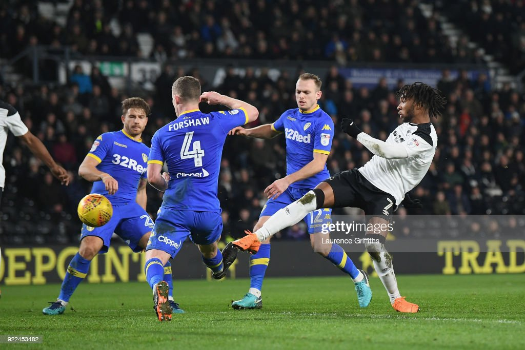 Kasey Palmer of Derby scores to make it 2-2 during the Sky Bet Championship match between Derby County and Leeds United at iPro Stadium on February 21, 2018 in Derby, England.