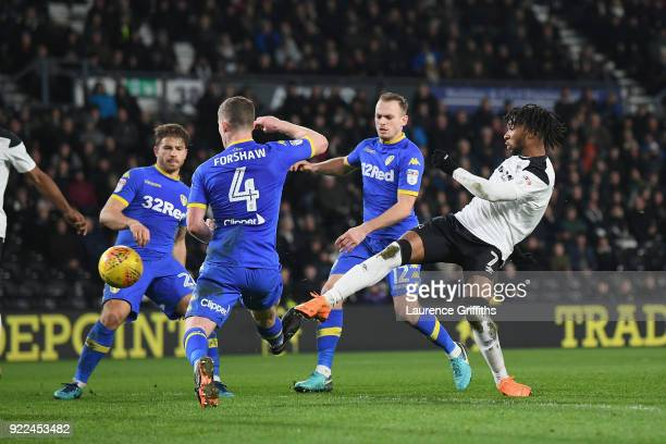 Kasey Palmer of Derby scores to make it 22 during the Sky Bet Championship match between Derby County and Leeds United at iPro Stadium on February 21...