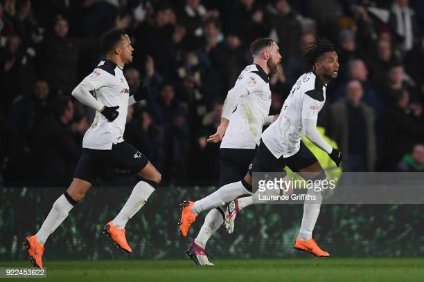 Kasey Palmer of Derbycelebrates scoring to make it 22 during the Sky Bet Championship match between Derby County and Leeds United at iPro Stadium on...