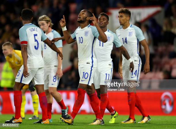 Kasey Palmer of England celebrates scoring the 3rd England goal during the UEFA Under 21 Championship Qualifiers between England and Latvia at...