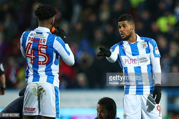 Kasey Palmer of Huddersfield Town and Elias Kachunga of Huddersfield Town during the Sky Bet Championship match between Huddersfield Town and Wigan...