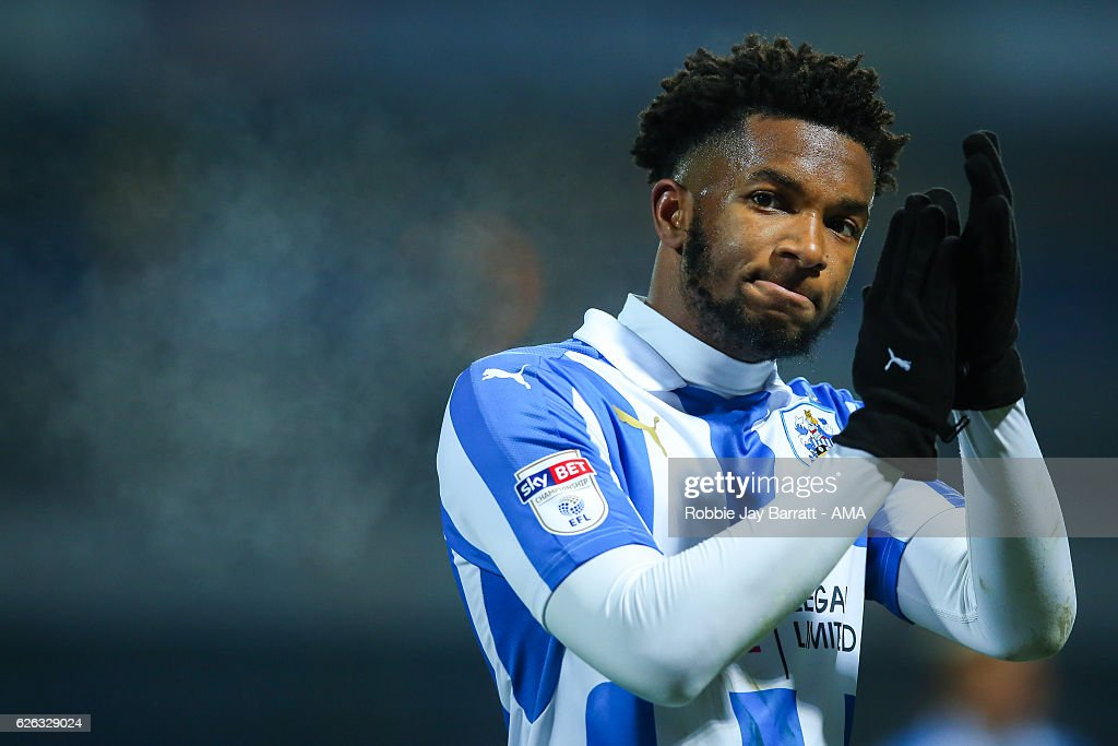 Kasey Palmer of Huddersfield Town applauds the fans at full time during the Sky Bet Championship match between Huddersfield Town and Wigan Athletic at John Smith's Stadium on November 28, 2016 in Huddersfield, England.