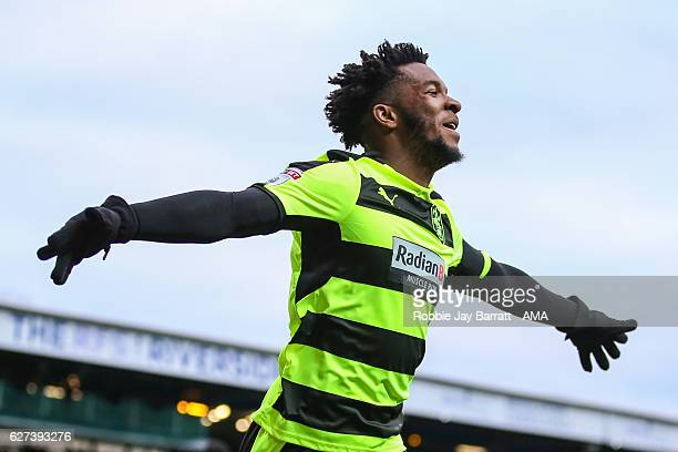 Kasey Palmer of Huddersfield Town celebrates after scoring a goal to make it 01 during the Sky Bet Championship match between Blackburn Rovers and...