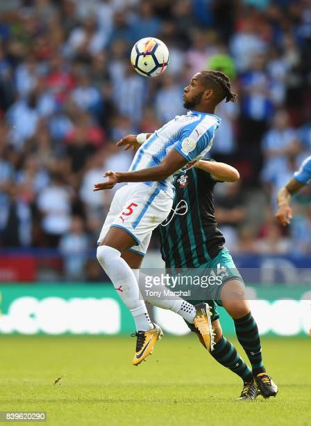 Kasey Palmer of Huddersfield Town heads the ball during the Premier League match between Huddersfield Town and Southampton at John Smith's Stadium on...