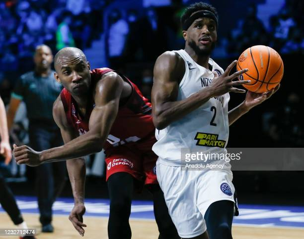 Kasey Shepherd of Nizhny Novgorod in action against Rasheed Sulaimon of Casademont Zaragoza during FIBA Champions League Final 8 basketball match...