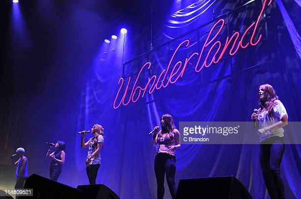 Kasey Smith Sharon Condon Jodi Albert Leigh Learmont and Corrina Durran of Wonderland performs on stage at HMV Hammersmith on May 24 2011 in London...