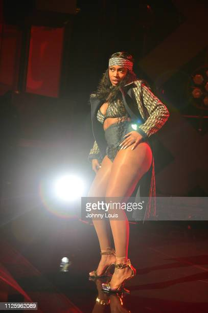 Kash Doll performs on stage during the Meek Mill 'The Motivation Tour' kick off at The Fillmore Miami Beach at Jackie Gleason Theater on February 19...