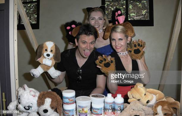 Kash Hovey Chantele Albers and Kathy Kolla pose for Brand Bash Canine's And Cocktails To Benefit The Little Red Dog held at Sowden House on April 21...