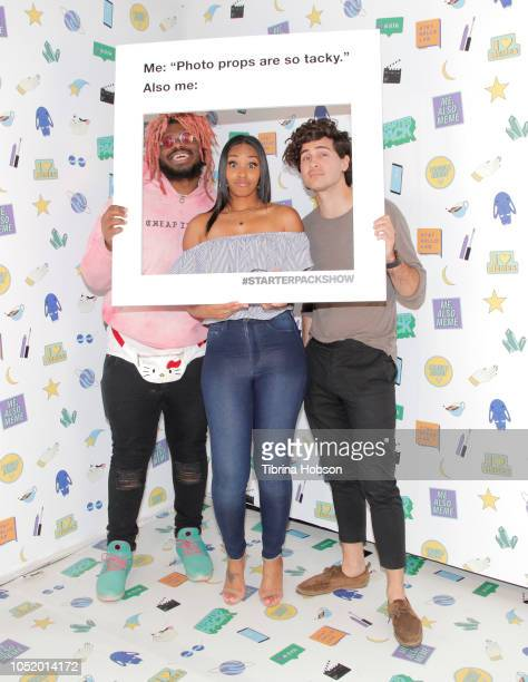 Kash Jordan Jasmine Luv and Anthony Padilla attend ATT Hello Lab's 'STARTER PACK' LOG ON The Internet Experience PopUp on October 12 2018 in Los...