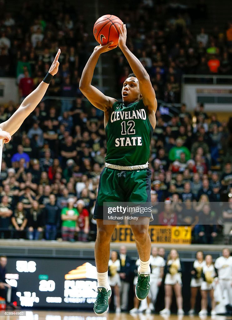 Kasheem Thomas #12 of the Cleveland State Vikings shoots the ball against the Purdue Boilermakers at Mackey Arena on December 10, 2016 in West Lafayette, Indiana.