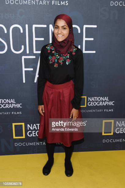 Kashfia Rahman arrives at National Geographic's Los Angeles Premiere of 'Science Fair' at Royce Hall on September 15 2018 in Los Angeles California