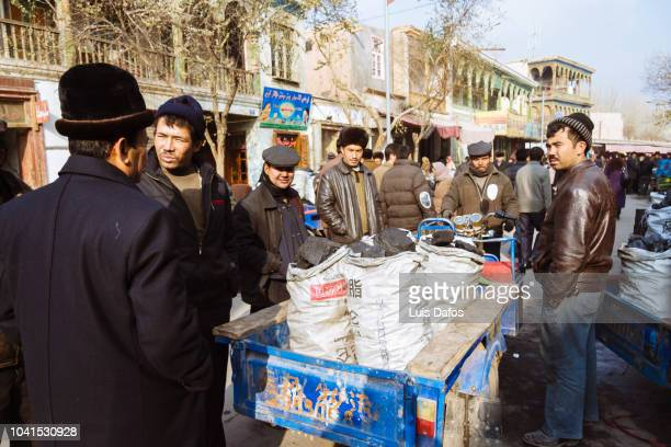 kashgar street market - dafos stock photos and pictures