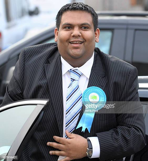 Kashif Ali the local Conservative candidate for the Oldham East and Saddleworth seat arrives for a visit to the Adamsons Vehicle Care Centre with...