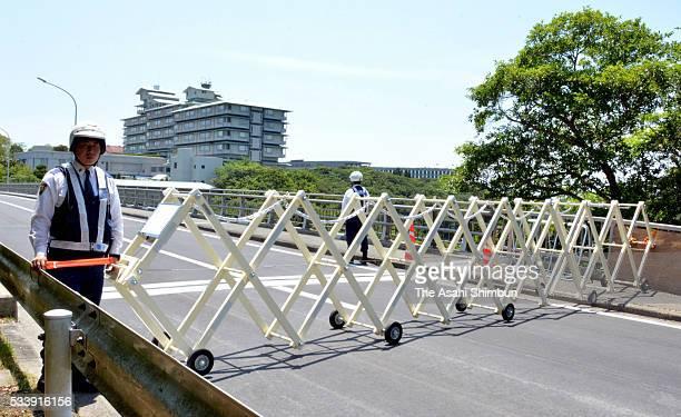 Kashikojima Ohashi bridge which connect the mainland and Kashikojima island, main venue of the summit, is closed ahead of the G7 Summit on May 21,...