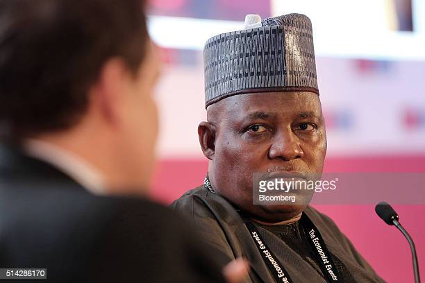 Kashim Shettima governor of the Nigerian state of Borno looks on during a panel session at The Economist conference in Lagos Nigeria on Monday March...