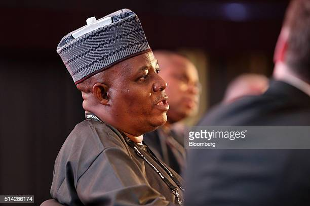 Kashim Shettima governor of the Nigerian state of Borno speaks during a panel session at The Economist conference in Lagos Nigeria on Monday March 7...