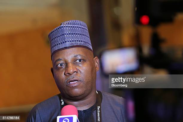 Kashim Shettima governor of the Nigerian state of Borno speaks to the media at The Economist conference in Lagos Nigeria on Monday March 7 2016...