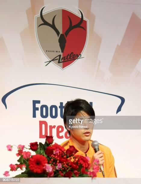 Kashima Antlers defender Atsuto Uchida speaks at a press conference held to unveil the team for the new season in Kamisu Ibaraki Prefecture on Jan 18...