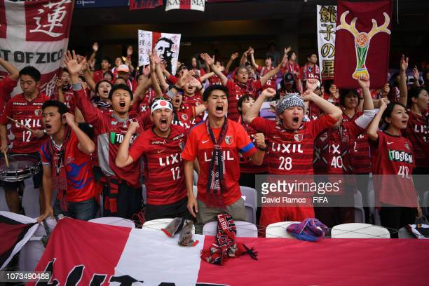 Kashima Antlers fans show their support prior to the FIFA Club World Cup UAE 2018 Second round match between Kashima Antlers and CD Guadalajara at...