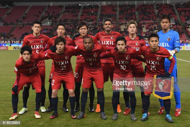 Kashima Antlers players line up for the team photos prior to the AFC Champions League Group H match between Kashima Antlers and Shanghai Shenhua at...