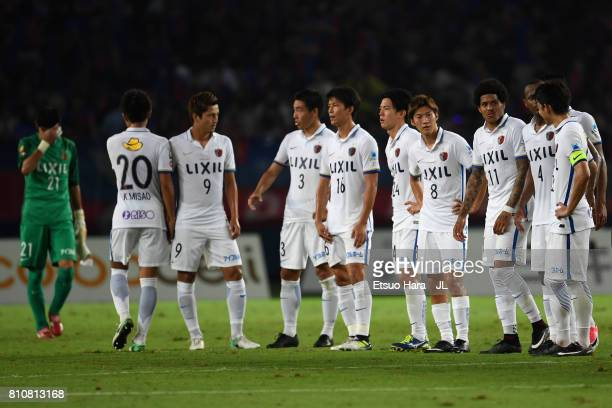 Kashima Antlers players react after the 2-2 draw in the J.League J1 match between FC Tokyo and Kashima Antlers at Ajinomoto Stadium on July 8, 2017...