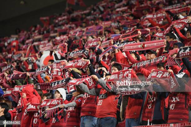 Kashima Antlers supporters cheer prior to the AFC Champions League Round of 16 first leg match between Kashima Antlers and Shanghai SIPG at Kashima...