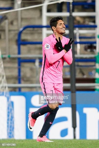 Kashima Forward Pedro Junior celebrating his score during the AFC Champions League 2017 Group E match between Ulsan Hyundai FC vs Kashima Antlers at...