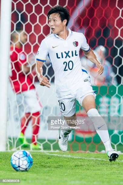 Kashima Midfielder Misao Kento in action during the AFC Champions League 2017 Round of 16 match between Guangzhou Evergrande FC vs Kashima Antlers at...