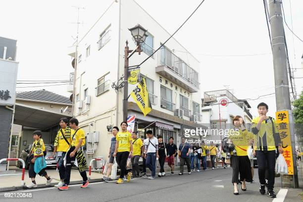 Kashiwa Reysol fans make their way to the stadium prior to the JLeague J1 match between Kashiwa Reysol and Urawa Red Diamonds at Hitachi Kashiwa...