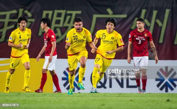 Kashiwa Reysol forward Cristiano Da Silva celebrates after scoring his goal during the Guangzhou Evergrande vs Kashiwa Reysol match as part the AFC...