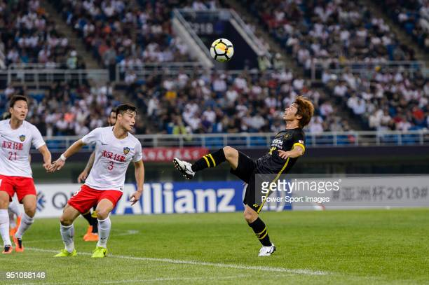 Kashiwa Reysol Forward Yusuke Segawa controls the ball during the AFC Champions League 2018 Group E match between Tianjin Quanjian FC and Kashiwa...