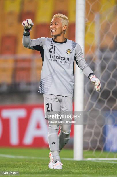 Kashiwa Reysol goalkeeper Sugeno Takanori gestures during the 2015 AFC Champions League Round of 16 1st Leg match between Suwon Samsung FC vs Kashiwa...