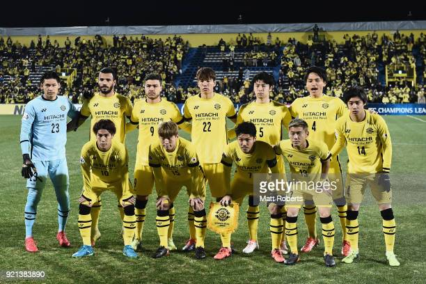 Kashiwa Reysol players line up for the team photos prior to the AFC Champions League match between Kasshiwa Reysol and Tianjin Quanjian at Sankyo...