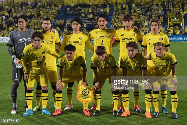 Kashiwa Reysol players line up for the team photos prior to the AFC Champions League Group E match between Kashiwa Reysol and Jeonbuk Hyundai Motors...