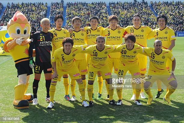 Kashiwa Reysol players pose for photograph prior to the pre season friendly between Kashiwa Reysol and JEF United Chiba at Hitachi Kashiwa Soccer...