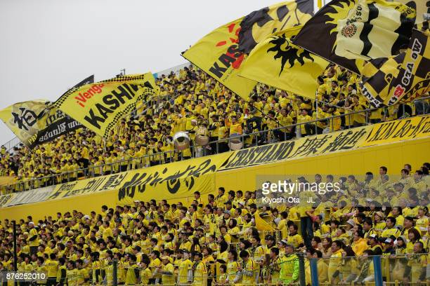 Kashiwa Reysol supporters cheer prior to the JLeague J1 match between Kashiwa Reysol and Jubilo Iwata at Hitachi Kashiwa Soccer Stadium on November...