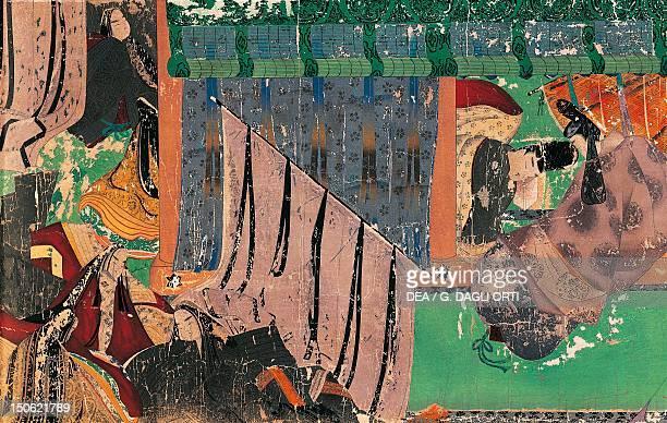 Kashiwaga Mlato receiving Yugiri illustration from the emakimono of Genji Monogatari novel by the poet Murasaki Shikibu Japan Japanese Civilisation...