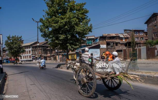 Kashmir Muslim family travels in a horse drawn wagon in the old city as the public transport remains off the roads after the revocation of special...