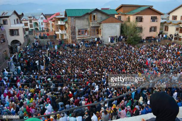 Kashmir Muslim participate in the funeral of Dawood Salafi a rebel commander killed in an encounter between Indian government forces and militants in...