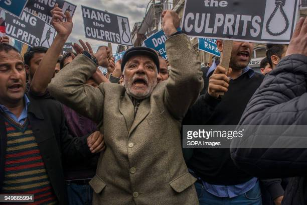 Kashmir Muslims shouting slogans during a protest in Srinagar the summer capital of Indian administered Kashmir Protesters staged protest today at...