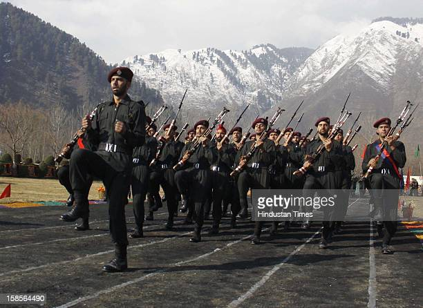 Kashmir Police commando march during a Passing Out Parade of new recruits on December 19 2012 in Sheeri Baramulla some 65 kms north of Srinagar India...