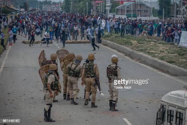 Kashmir Muslim protesters throw stones at Indian government forces during a protest on June 22 2018 in Srinagar the summer capital of Indian...