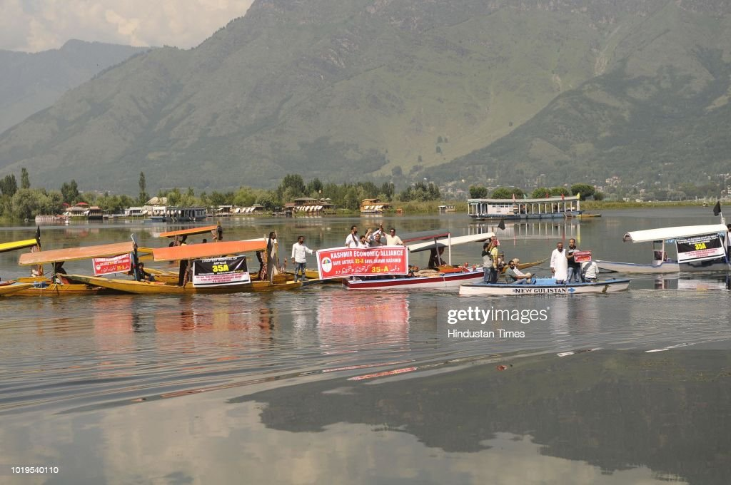 Boat Rally On The Dal Lake To Protest Against Challenging Of Article 35-A