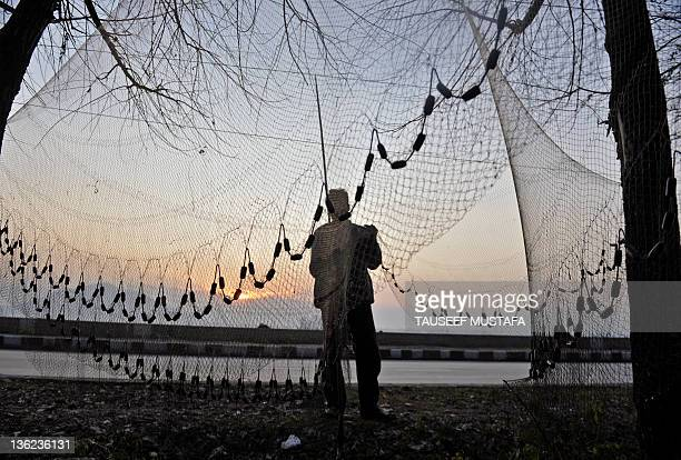 Kashmiri fisherman dries his fishing net on a cold but sunny day during sunset on Srinagar's Dal lake on December 29, 2011. A cold wave further...