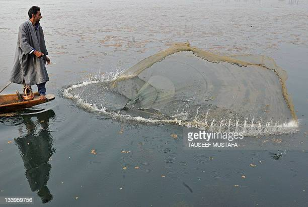 Kashmiri fisherman throws his net into Dal lake during a foggy day in Srinagar on November 23, 2011. A cold wave further tightened its grip in Jammu...