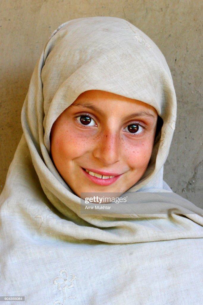 Kashmiri Girl Smiling : Stock Photo