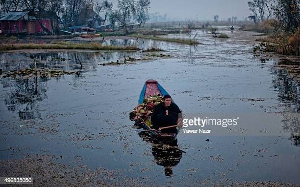 Kashmiri man paddles his boat to the floating vegetable market on Dal Lake at dawn on November 12 2015 in Srinagar the summer capital of Indian...