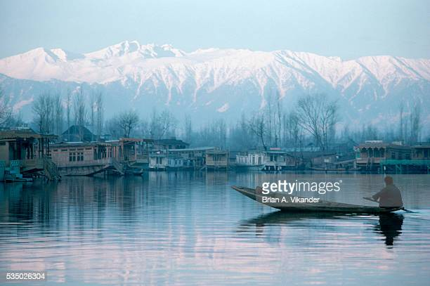 Kashmiri Man Paddling Shikara or Water Taxi on Dal Lake at Dawn